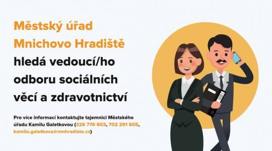 Mnichovo Hradiště hledá vedoucího odboru sociálních věcí a zdravotnictví.